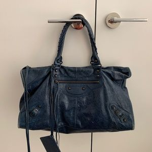 BALENCIAGA CLASSIC WORK TOTE / LARGE / NAVY BLUE